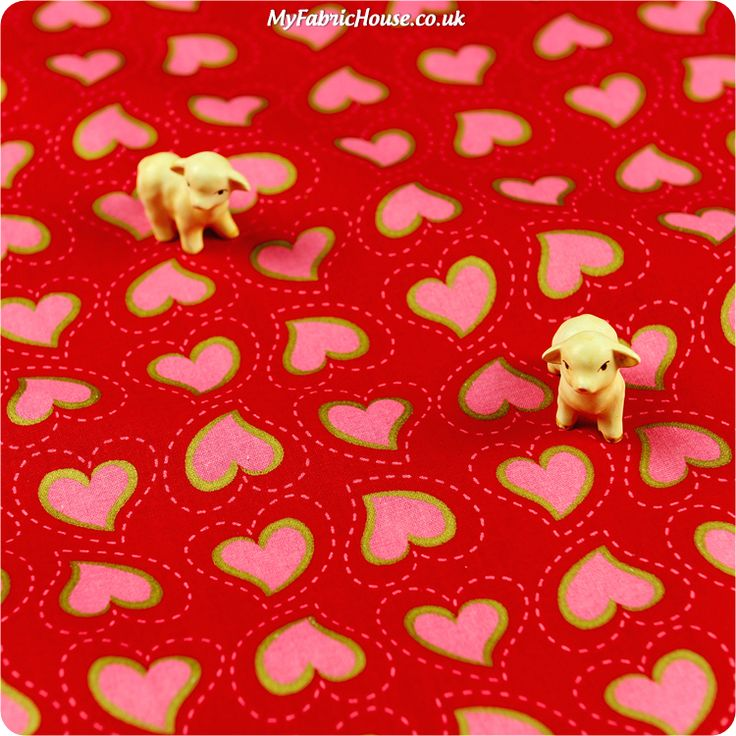 Love ♥ 52x49cm Metallic Hearts Red Cotton Fat Quarter Fabric  £3.25