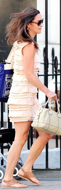Pippa Middleton: Dress – French Connection  Shoes – French Sole  Purse – Loewe