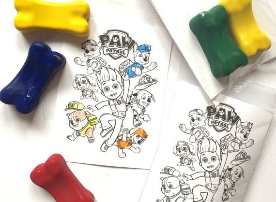 Paw Patrol Party Favor Bone Shaped Crayon Party Favor by ImageOak