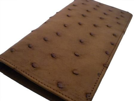 This check book ostrich wallet is made with the finest South African ostrich skins.