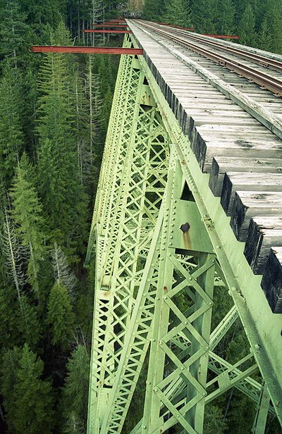 The second highest railway arch bridge ever built in the United States, the Vance Creek arch bridge soars 347 feet above a thick forest valley in Washington State's Olympic peninsula. Originally constructed in 1929 by the Simpson Logging Company, the bridge was eventually abandoned and has neither tracks nor a roadway on top of it. Located several miles north on the same rail line and still in use as a road bridge since 1950 is the High Steel bridge over the South Fork of the Skokomis