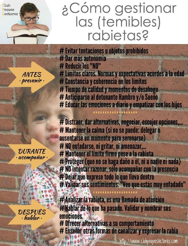 Infografia como gestionar rabietas niños, consejos, tips