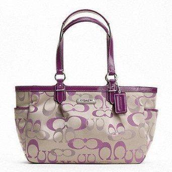 Coach Lilac Gallery Optic Signature Tote Purse Khaki and Berry Purple 20444