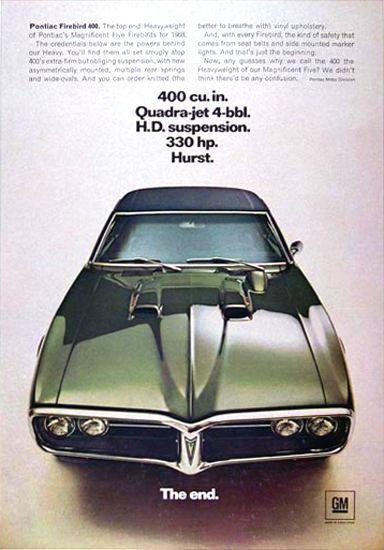 Pontiac Firebird 1968 400 Cu In Quadra-Jet - www.MadMenArt.com | Vintage Cars…
