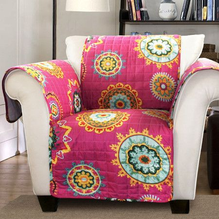 Instantly refresh your furniture and keep your favorite pieces protected with this colorful arm chair cover, showcasing a suzani medallion print.