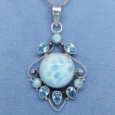 Larimar and Blue Topaz Necklace - Sterling Silver