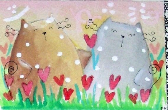 original watercolor ACEO happy cats hearts valentine's by elisatta