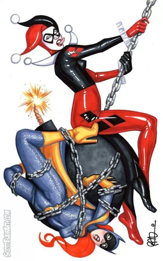 Harley Quinn vs Batgirl by Scott Blair   Dr. Harleen Q.