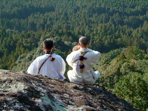 Yamabushi (山伏) (one who lies in the mountains) are Japanese mountain ascetic hermits with a long tradition, endowed with supernatural powers in traditional Japanese mysticism.