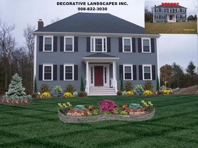 colonial home front yard landscape design attleboro ma - Home Landscaping Design