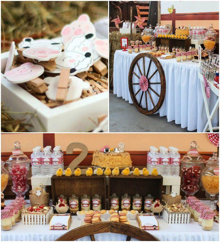 Barnyard + Farm themed birthday bash via Kara's Party Ideas KarasPartyIdeas.com #farmparty #outonthefarm #barnyardparty Printables, games, a...