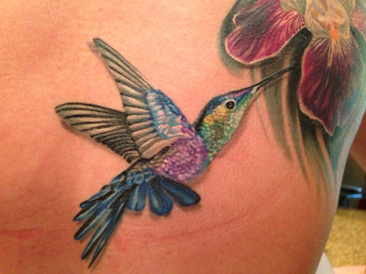 Beautiful hummingbird & iris tattoo done to remember my grandmothers. Done by Sammy Hayden at Last Angels Tattoo in Dallas, TX.