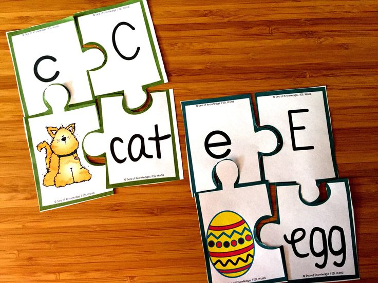 Alphabet Puzzles {AZ Picture, Word, Uppercase & Lowercase