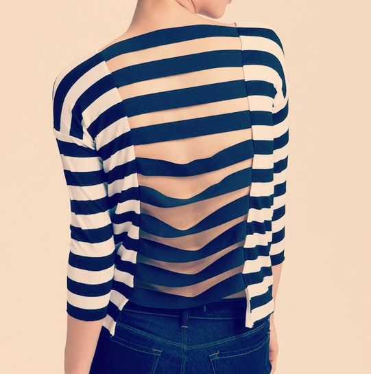 A basic striped shirt with an interesting twist like this Bailey 44 shirt.  Cut an opening in the back and sew strips of ribbon or elastic along the sides...    Cool effect and super easy.