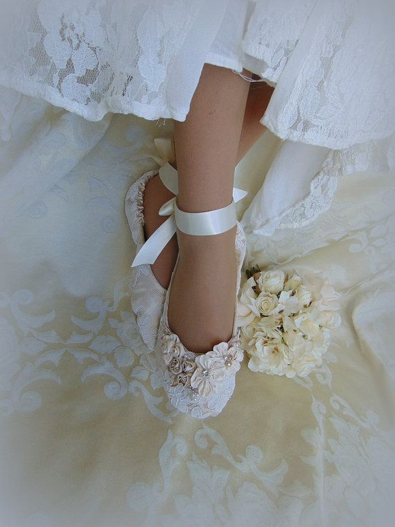 Bride Princess Ballet Slippers Lace Bridal by HopefullyRomantic
