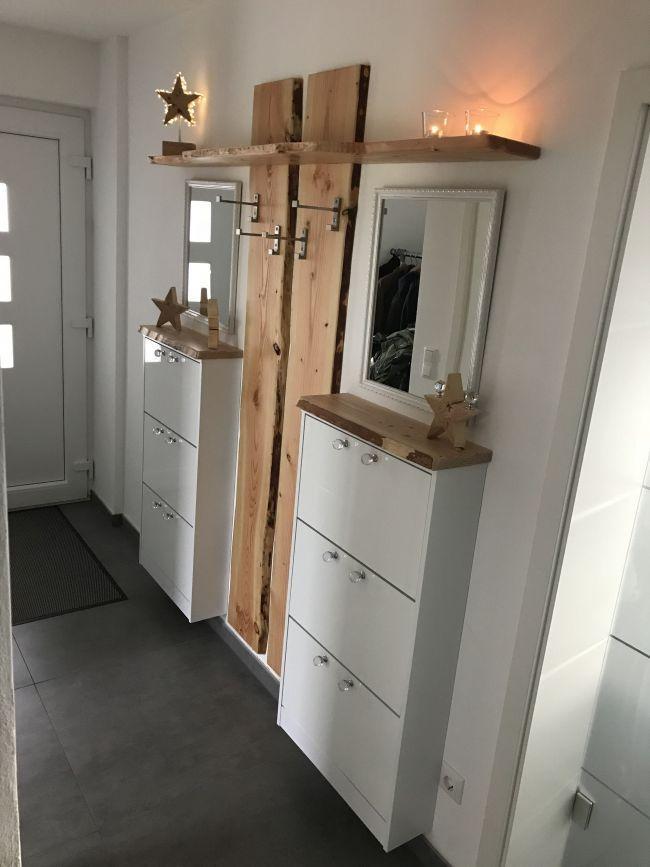 Selbstgebaute Garderobe mit Douglasie Dielen