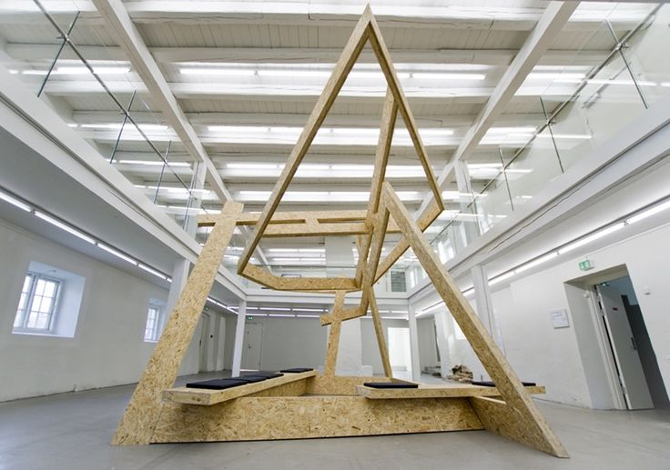 Marius Dahl and Jan Christensen, Time as Matter, 2014 Plywood and pillows H: 436 cm, L: 754 cm, W: 461 cm Installation view: Viborg Kunsthal, #Viborg, Denmark #viborgkunsthal #mariusdahl #janchristensen #plywood #sculpture #installationart