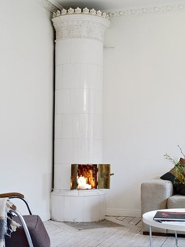 Tiled Unique Decorative Column Fireplace