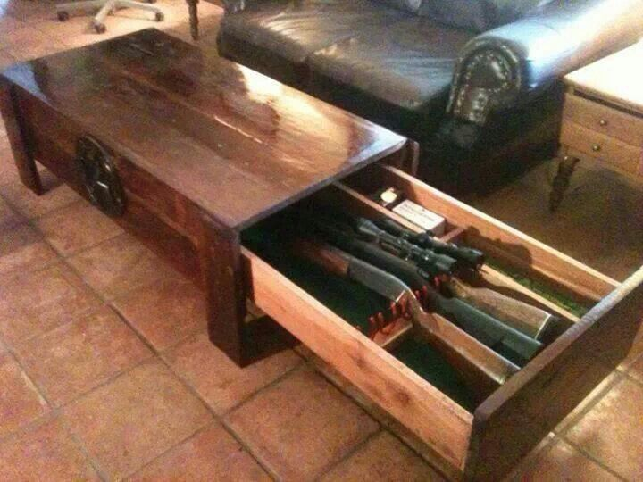 Coffee table gun rack. camolifeforever.com Would be cool for all our Nerf guns
