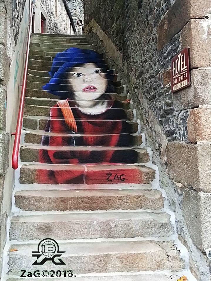 "Artist : Zag   ""Stairs Street Art"""
