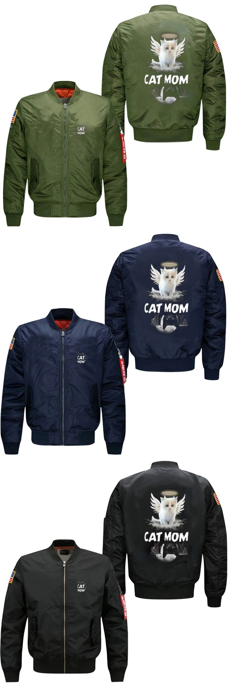 Spring autumn mom cat wings printed flight jacket man cartoon pattern veste militaire homme jacket USA size  fast shipping 2017