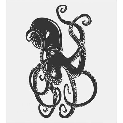 East Urban Home Octopus Duvet Cover Set, Polyester in White/Black, Size King | Wayfair | Home Decor