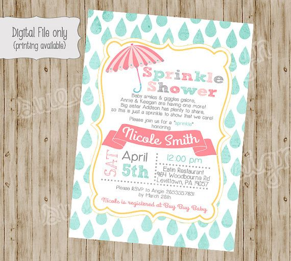 """Just ordered these for my """"sprinkle"""" shower! Baby Shower Invitation Baby Sprinkle by SweetBeeDesignShoppe, $12.00"""