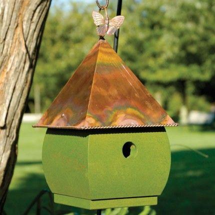 Best Hadley Park Hanging Bird House White Verde Copper Roof 400 x 300