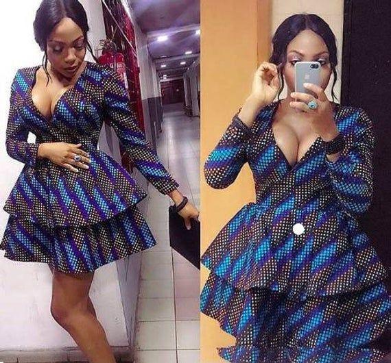 African Print Deep V-Neck Dress Double Flare Dress with long sleeves -Ankara Print -African Dress -H