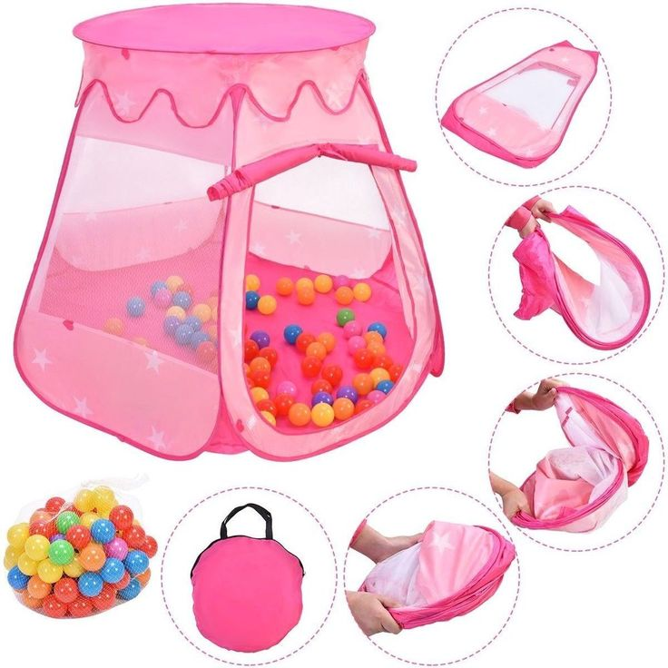Baby Play Tent Portable Girls Play House Kid Indoor Outdoor Toy Kit W/ 100 Balls #BabyPlayTent