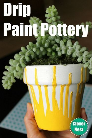 DIY Painted Pot ... Can't find a pot just the colour you want? Try upturning it & dripping paint down the sides for a unique look. Great gift idea & fun for kids to make their own. | The Micro Gardener