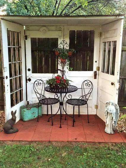 Great idea for using four old doors to create an outdoor space.                                 Gloucestershire Resource Centre http://www.grcltd.org/scrapstore/