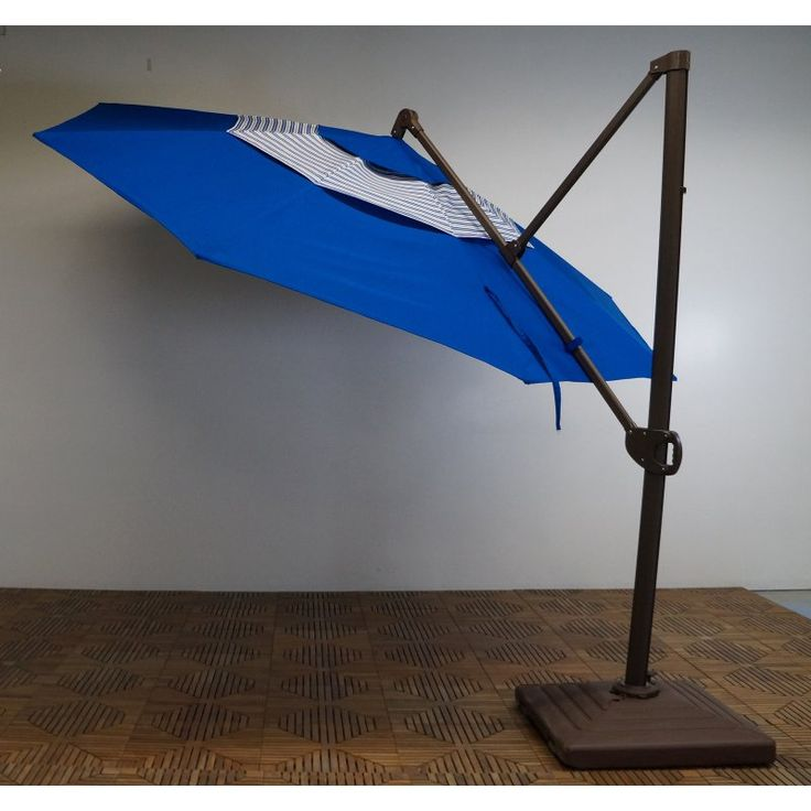 Shade Trends 11 ft. Trigger Lift Cantilever Offset Umbrella with Double Valance Pacific Blue with Blue Stripe - M2V952RB-102/02