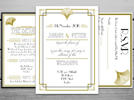 Digital 1920s Great Gatsby Inspired Personalised Printable Wedding  Invitation Set With RSVP And Information Cards