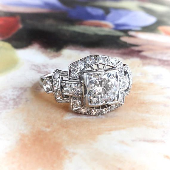 Find Art Deco Diamond Ring Circa T Vintage Old Transitional Cut Engagement Wedding Anniversary Platinum On Antique Estate Jewelry