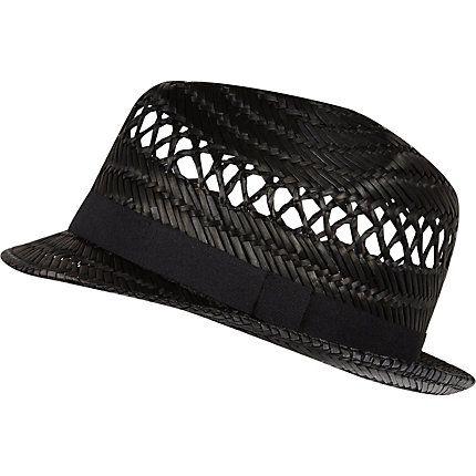 Black straw trilby hat £14.00