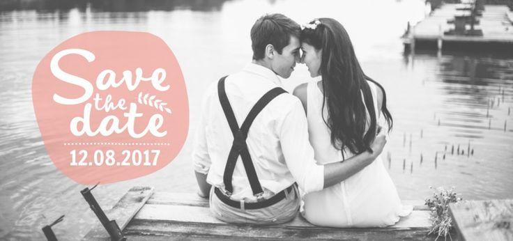 Save the date - Fotokaart Roze Embleem