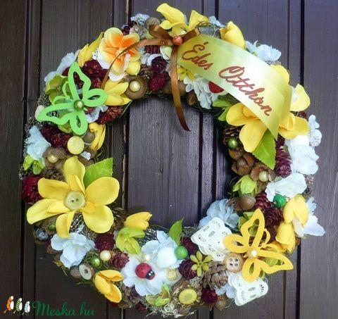Édes Otthon - sárga virágos kopogtató (28 cm) (pinkrose) - Meska.hu