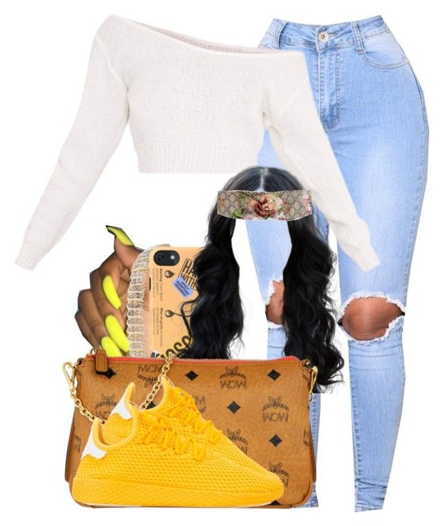 """""""1109"""" by tuhlayjuh ❤ liked on Polyvore featuring Finesque, Moschino, MCM, Gucci and adidas"""