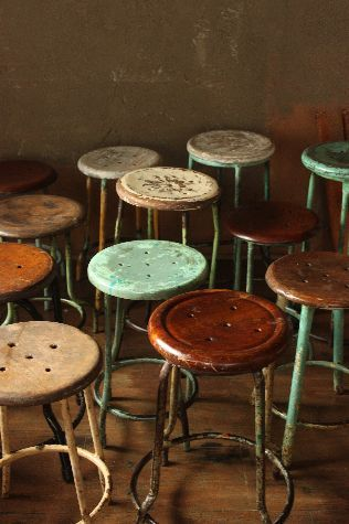 """Vintage stools.  I took some from the old art rooms at WHS and still have them in the garage aka """"man cave.""""  They're the best beer drinking stools ever."""