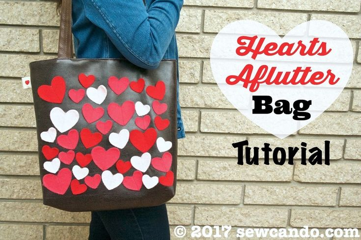 Sew Can Do: Hearts Aflutter Faux Leather Tote Bag Tutorial.  Easy & inexpensive to make, this bag gets its whimsical boutique vibe from the contrast of buttery brown faux leather and the colorful textured of felt hearts, plus a matching lining and decorative heart side tag.  Designer in look, but DIY quick to create!
