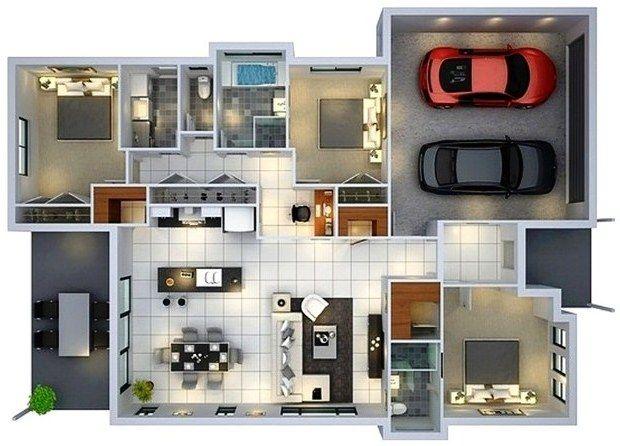 58 Desain Rumah Minimalis 1 Lantai Dengan 3 Kamar Tidur Dan