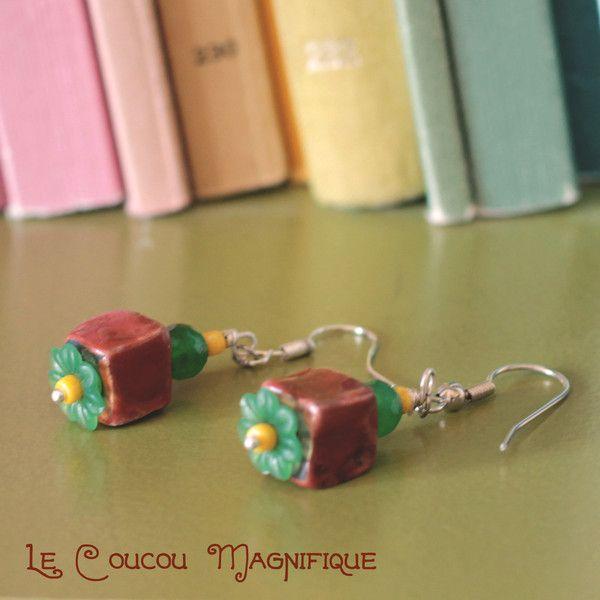 Orecchini+con+perle+in+ceramica+e+fiori+vintage+di+Le+Coucou+Magnifique+su+DaWanda.com