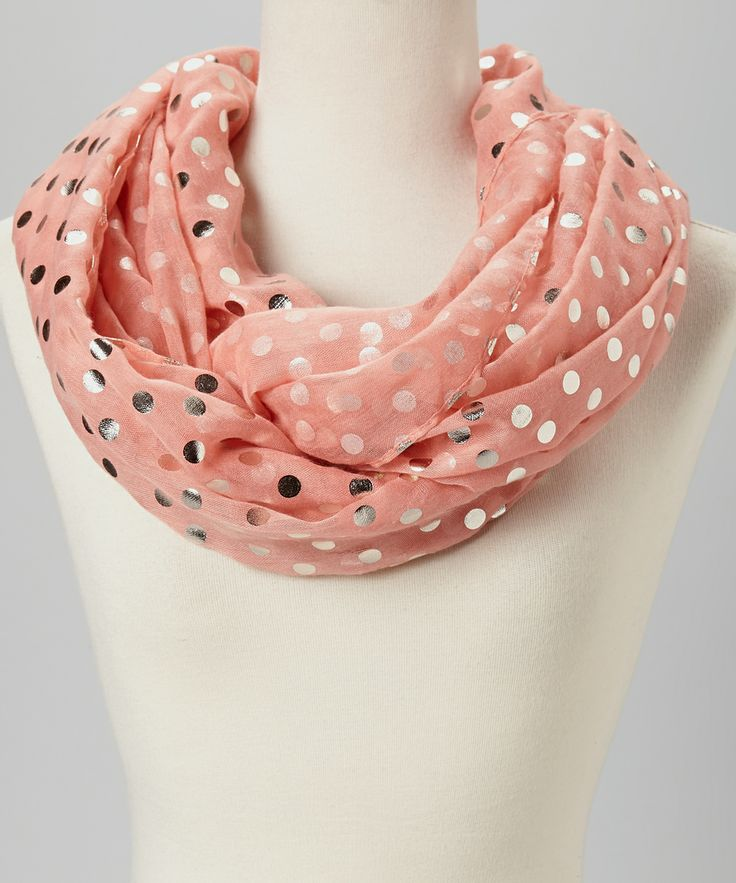 Pink & Silver Dot Infinity Scarf // must have this... so pretty!