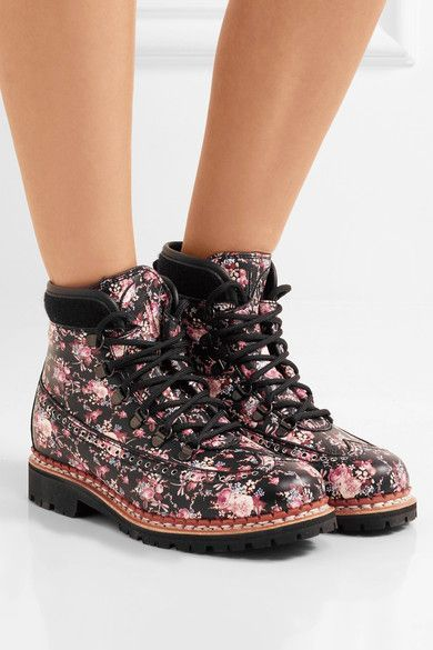 Tabitha Simmons - Bexley Floral-print Leather Ankle Boots - Black - IT