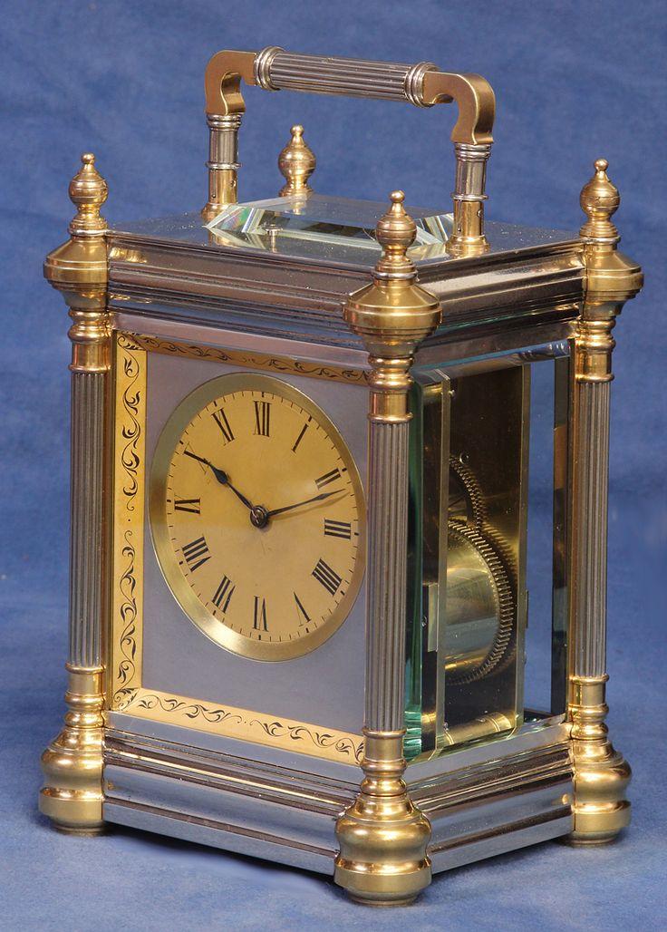 c.1885 French Giant Gilt and Silvered Bronze Quarter Striking Carriage Clock. - Sundialfarm