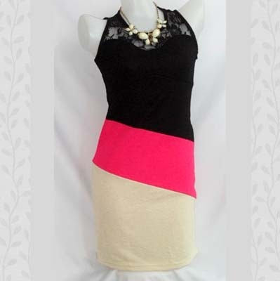 Pink Picasso Crepe and Lace Dress