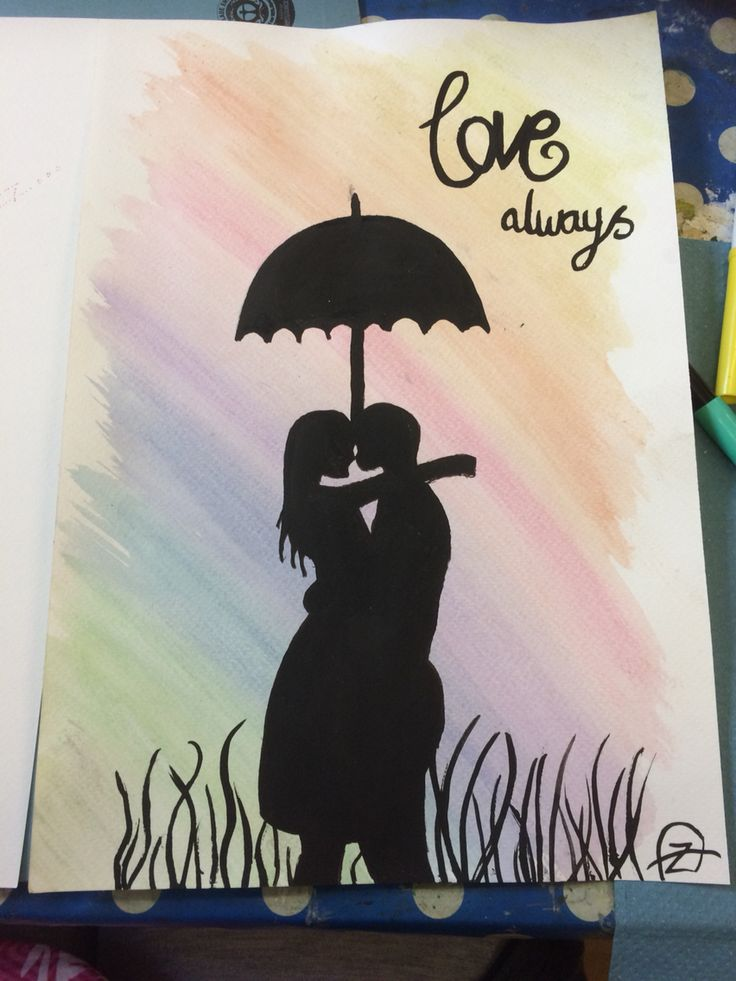 'Love always' silhouette, water colour on paper.