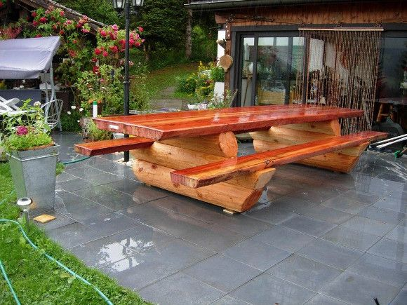 Wooden Table and Benches Now is the time to spruce up your wooden garden furniture ready for the barbecue season - so take   advantage of this great 15% off offer on garden furniture treatment products.