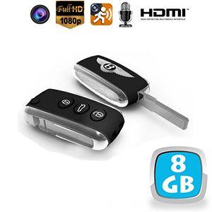 porte-clés de voiture avec caméra cachée couleur et dvr - 5 mp - hd 1080p - détection de mouvement - hdmi - mémoire interne 8 go